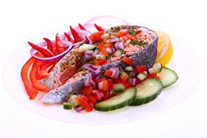 Фотография Морепродукты Рыба Овощи Еда