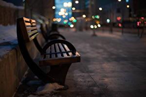 Картинки Скамья Ночь Улица Города
