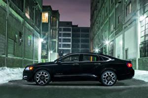 Фото Здания Черные Роскошный Сбоку Улице В ночи 2015 Impala Midnight Edition авто Города