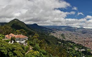 Фотографии Горы Дома Леса Вилла Колумбия Облака Сверху bogota South America Природа
