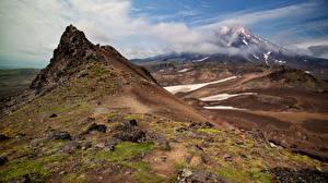 Фотографии Россия Горы Пейзаж Камчатка Вулкан Природа