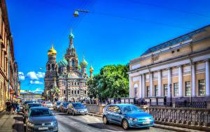 Фото Россия Санкт-Петербург Храмы Дороги HDRI Улица Города