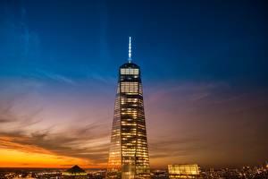 Фото США Небо Рассветы и закаты Небоскребы Здания Нью-Йорк Манхэттен 1 World Trade Center, WTC Города