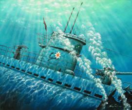 Фотографии Подводные лодки Рисованные U 124, Last Whisper военные