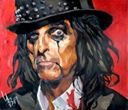 Картинка Мужчины Рисованные Смотрит Шляпа Лицо Alice Cooper, (Vincent Damon Furnier)