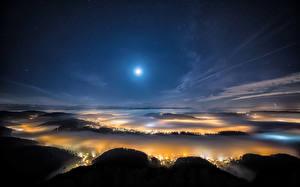 Картинки Пейзаж Швейцария Небо Цюрих Ночь Луна Сверху Природа Города