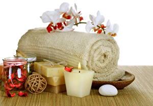 Фото Орхидеи Свечи Вблизи Полотенце Мыло Физиотерапия towel soap