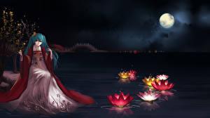 Картинки Hatsune Miku Vocaloid Луна Кимоно Девушки