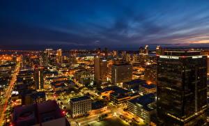 Фотография США Дома Сан-Диего Мегаполиса Ночь город