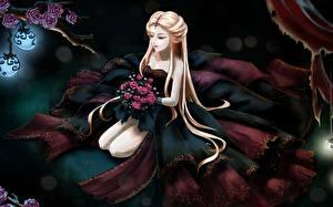 Фото Розы Платье Блондинки Аниме Девушки