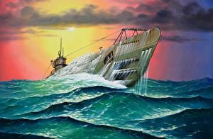 Фотографии Подводные лодки Рисованные U-571 in heavy seas. January 28, 1944