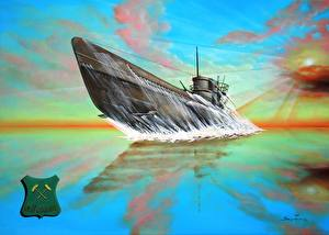 Фотографии Подводные лодки Рисованные U-667 Good Luck