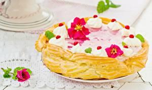 Фотография Торты Выпечка Вблизи Розы Сладости Еда Цветы