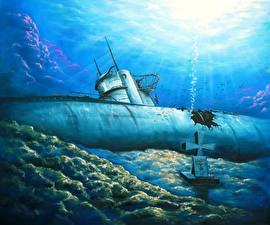 Картинки Подводные лодки Рисованные U-201 военные