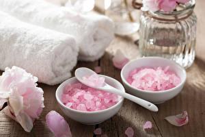 Фото Камни Крупным планом Полотенце Физиотерапия Лепестки Ложка Розовый Соль