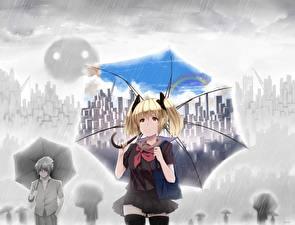 Картинки Дождь Зонт Блондинка Школьницы hewsack Аниме Девушки