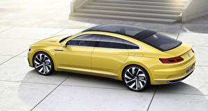 Картинки Volkswagen Сбоку Желтый 2015 Sport Coupe Concept GTE Машины
