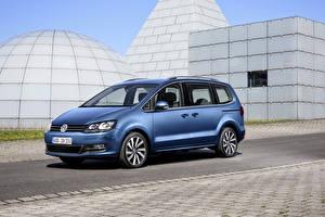 Обои Volkswagen Голубые 2015 Sharan машина