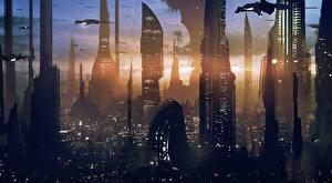 Обои Небоскребы Рассветы и закаты Star Wars Coruscantго компьютерная игра Фэнтези Города
