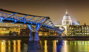 Фотографии Великобритания Река Мосты Лондоне В ночи