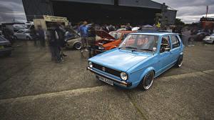 Фотография Старинные Фольксваген Голубых golf автомобиль