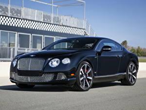 Фото Bentley Сбоку Черная Дорогая Bentley Continental GT Speed Le Mans Edition машины