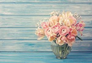 Картинки Букеты Тюльпаны Лютик Розовые Вазе Цветы
