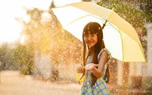 Картинка Дождь Девочки Зонт Лучи света Дети