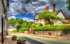 Картинка Англия Городки Здания Дороги Улица Little Budworth Города