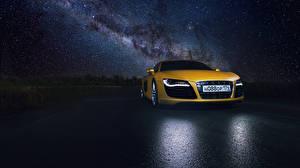 Фотография Звезды Ауди Небо Спереди Желтый Ночные R8  Supercar Авто
