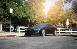 Картинка BMW Черная Асфальта F13 640i Vertini Автомобили