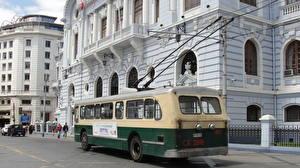 Фотографии Дома Автобус Чили Вальпараисо Улице Города