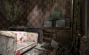 Обои Комнаты Диван Телевизор Старый