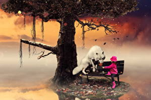 Фотографии Волк Девочка Дерево Скамейка Тумане Фэнтези Животные Дети