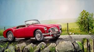 Картинки Рисованные Картина Небо Сбоку Красный Кабриолет MG Barchetta sport Авто