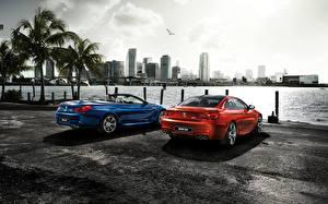 Картинка Небоскребы БМВ Берег Сзади Синий Красные Припаркованная 2015 M6 F13 машина Города