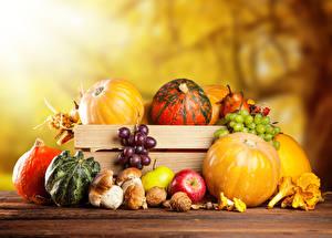 Картинки Осень Овощи Фрукты Тыква Виноград Еда