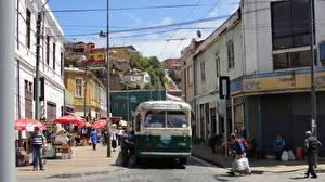 Картинки Дома Чили Автобус Вальпараисо Улица Города