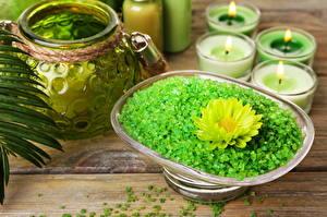 Обои Свечи Физиотерапия Зеленый Солью цветок
