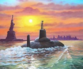 Картинка Подводные лодки Рисованные Project 941