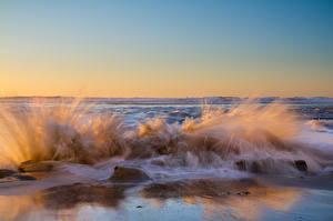 Фотографии Море Волны Небо С брызгами Горизонт Природа