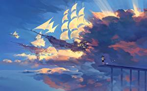 Обои для рабочего стола Корабль Парусные Облачно Летит hanyijie Аниме Фэнтези