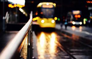 Фотография Автобус Дороги Улица Ночные Города