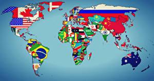 Обои География Флага Флаг world map earth states geographic map