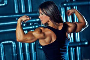 Фотография Бодибилдинг Майка Спина Мускулы Olga Belyakova muscle pose Спорт Девушки