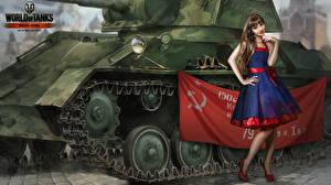 Обои World of Tanks Рисованные Танки Флаг Советский союз Nikita Bolyakov Платье Игры Девушки
