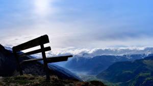 Картинки Небо Горы Пейзаж Скамейка Природа