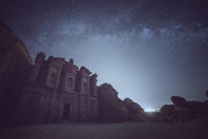 Картинка Звезды Небо Ночные Jordan Petra Города