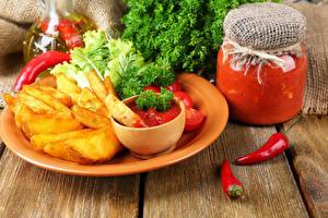 Фото Картофель фри Перец овощной Кетчупом Банка Пища