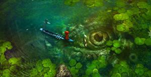 Фото Лодки Глаза Озеро Ловля рыбы